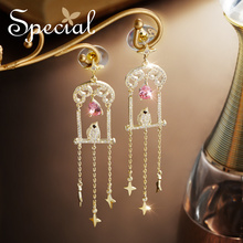 Special Europe and the United States s925 silver needle tassel ear decoration earrings against skin of 1001 night