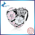 Hot Sell 925 Silver Jewelry Poetic Blooms, Mixed Enamels & Clear CZ Heart Charms Fit Bracelet Accessories for Women