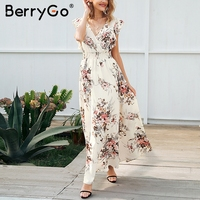 BerryGo Ruffle Backless Floral Print Long Dress Women V Neck Summer Dress Female Casual Boho Bow