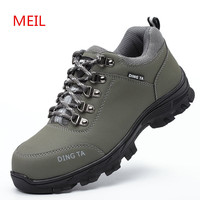 2018 Men Steel Toe Safety Shoes for Men Fashion Hiking Boots Construction Work Shoes Men Footwear Rubber Ankle Boots Size 35 46