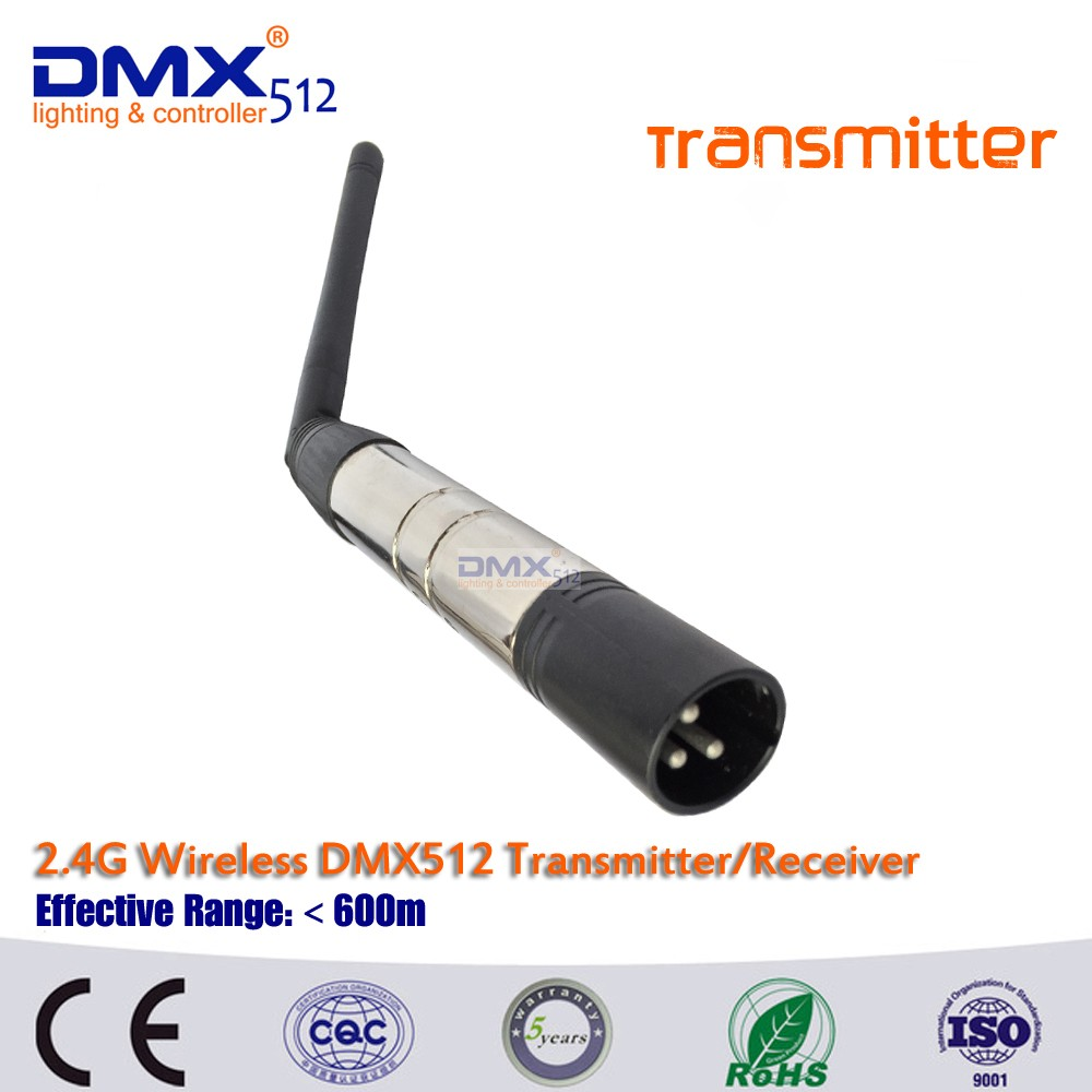 Free shipping hot sale 3pin or 5pin cannon plug wireless dmx transmitter for ktv DJ stage lighting
