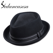 Sedancasesa New Europe England Style Autumn Winter Hat For Men Fedora Hat pork pie Mans Wool Felt Male Fedoras Vintage Cap