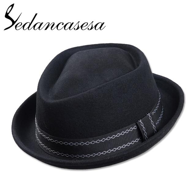 746e0f7b58d14 Sedancasesa New Europe England Style Autumn Winter Hat For Men Fedora Hat  pork pie Man s Wool