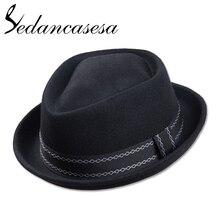 Sedancasesa جديد أوروبا انجلترا نمط الخريف الشتاء قبعة للرجال فيدورا قبعة فطيرة لحم الخنزير رجل ورأى الصوف الذكور فيدوراس قبعة خمر