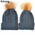 Feitong 2Pcs Family Winter Hats For Women Baby Fashion Beanie Mom And Baby Knitting Keep Warm Hat Bonnet Femme
