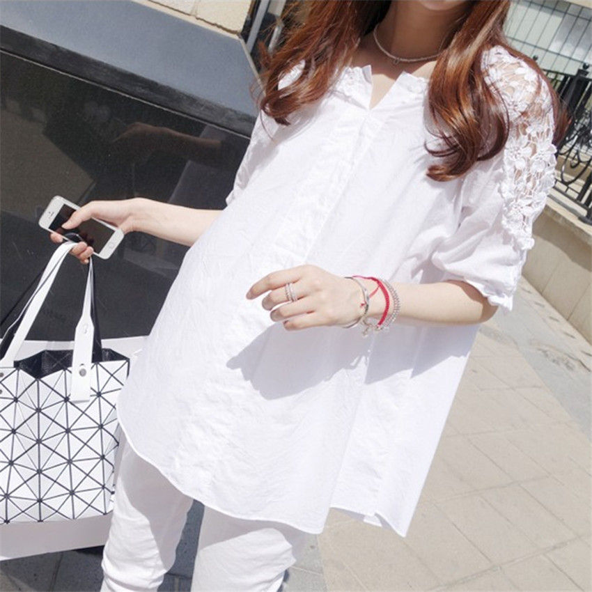 2018 New Spring Women White Hollow Out Blouse Summer Plus Size S-5XL Midi Long Lace Shirt Autumn Lady Blousas Basic Tops WZ310 1