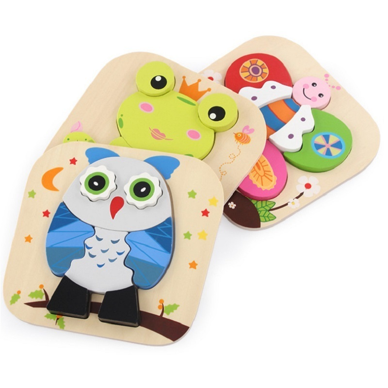 Baby Wooden Puzzle Toys for Toddlers Interactive Jigsaw Educational Kids Toys For Children Game Cartoon Animal Gift