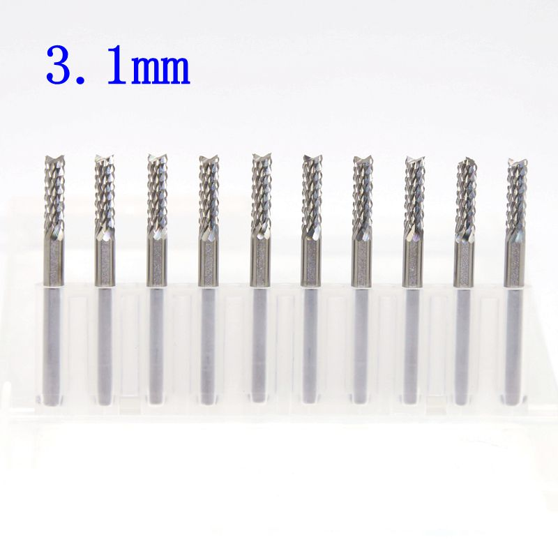 3.1mm PCB Strawberry Milling Cutter 10PCS Metal Woodworking CNC Router Power Tools Tungsten Carbide Drilling Machine Accessories 3 175x17mm strawberry carbide tool pcb milling cutter cnc metal cutting machine router wood tools engraving machine accessories