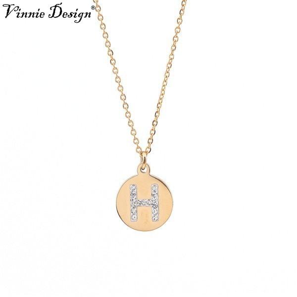 Vinnie Design Schmuck Gold Ersten Brief Anhänger Halskette mit 45 cm Link Kette
