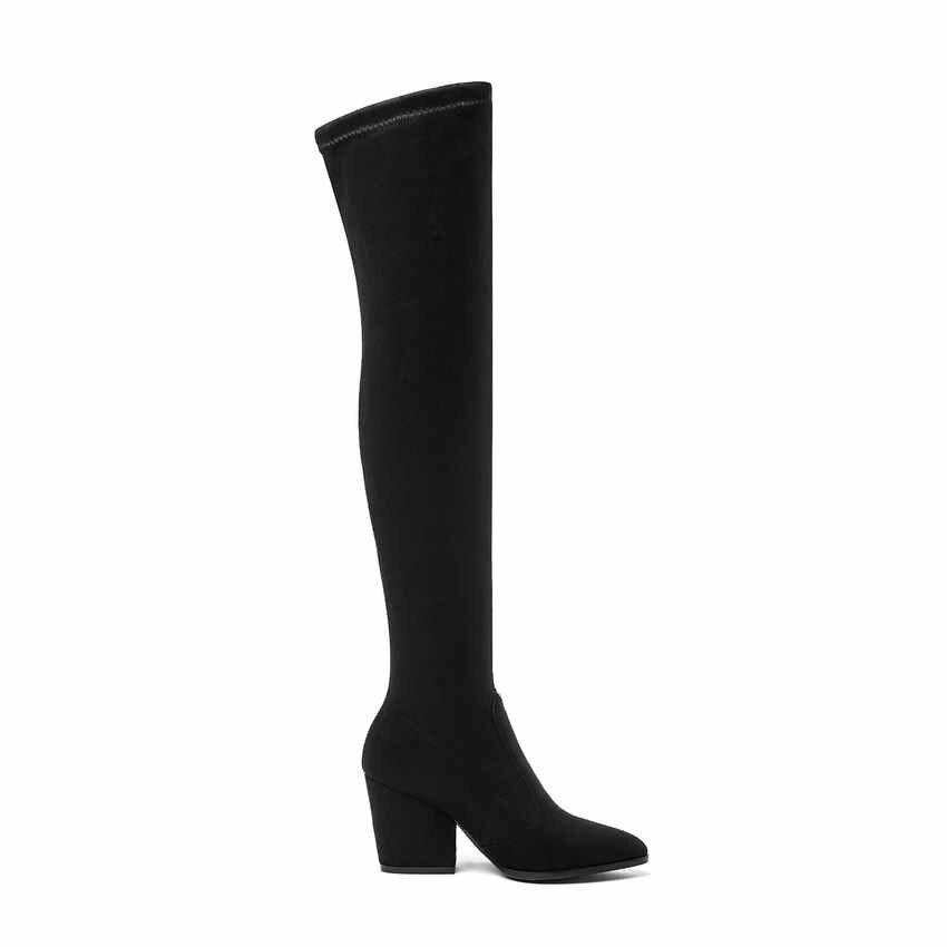 Qutaa 2020 Phụ Nữ Trên Đầu Gối Giày Cao Móng Guốc Gót Mùa Đông Giày Mũi Nhọn Gợi Cảm Chất Liệu Vải Thun Giày Bốt Nữ Kích Thước 34-43