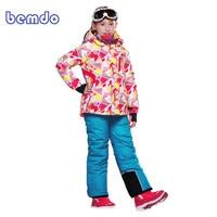 2017 Для детей зимние уличные лыжный костюм для девочек Водонепроницаемый куртка комбинезон Горные лыжи Сноуборд Снег комплект одежды