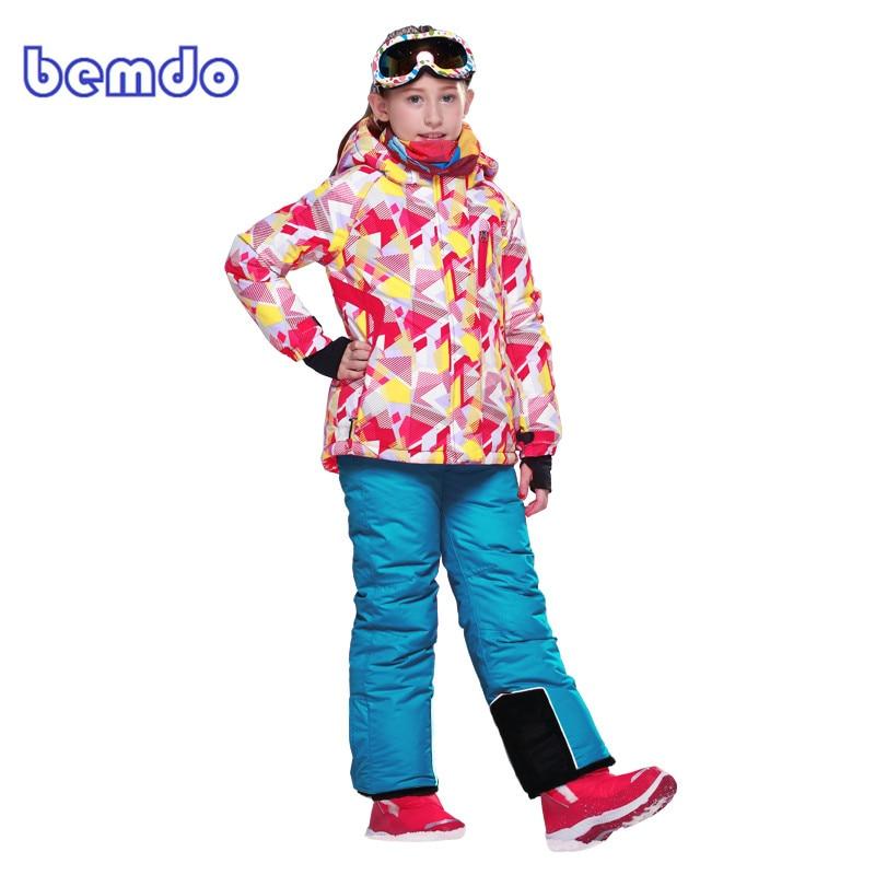2017 Children Kids Winter Outdoor Ski Suit Girls Waterproof Jacket Coat Bib Pants Mountain Skiing Snowboard Snow Clothing Set