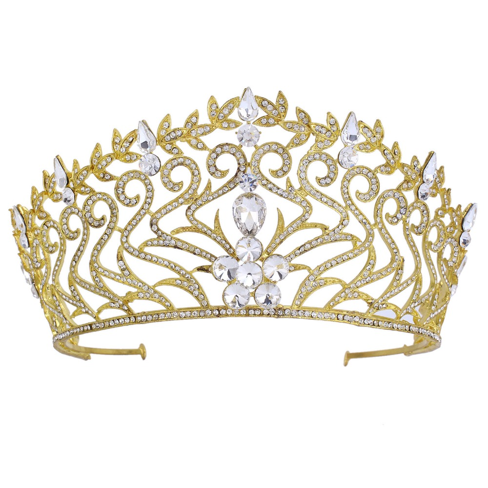 Wedding Jewelry Full Cystal Rhinestone Large Gold Tiara Crown Bridal Pageant Hair Crown Tiaras for Women Hair Jewelry
