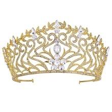 Wedding Jewelry Full Cystal Rhinestone Large Gold Tiara Crown Bridal Pageant Hair Crown Tiaras for Women Hair Jewelry