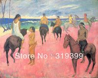 Portrait Oil Painting Reproduction on Linen canvas,Riders on the Beach (II) by Paul Gauguin,Free DHL Shipping,Museum Quality