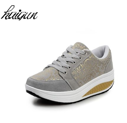 Slimming shoes women fashion leather casual shoes women Fitness Lady Swing Shoes Summer Factory Whose Top