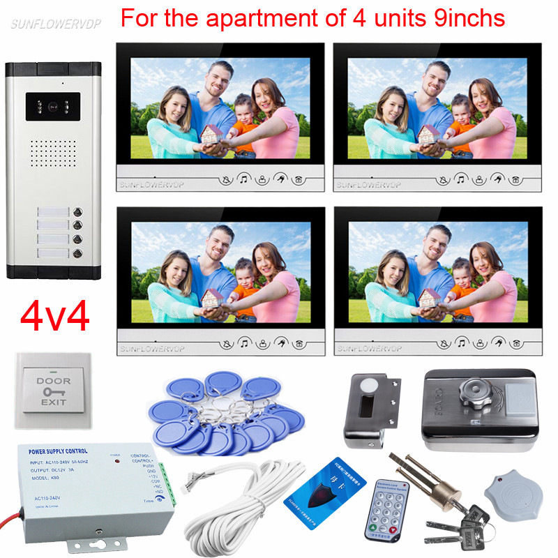 9 Color Lcds Intercoms For A Private House 4 Apartments Video Eyes For The Door Doorbell Camera With Rfid Electronic Door Lock