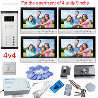 9 Color Lcds Intercoms For A Private House 4 Apartments Video Eyes For The Door Doorbell