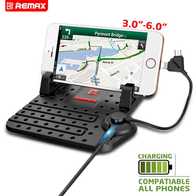 REMAX Mounts Sostenedor de Carga Del Teléfono Soporte de Coche Ajustable Conector Magnético Con Cable de Carga USB Para el iphone Para Samsung
