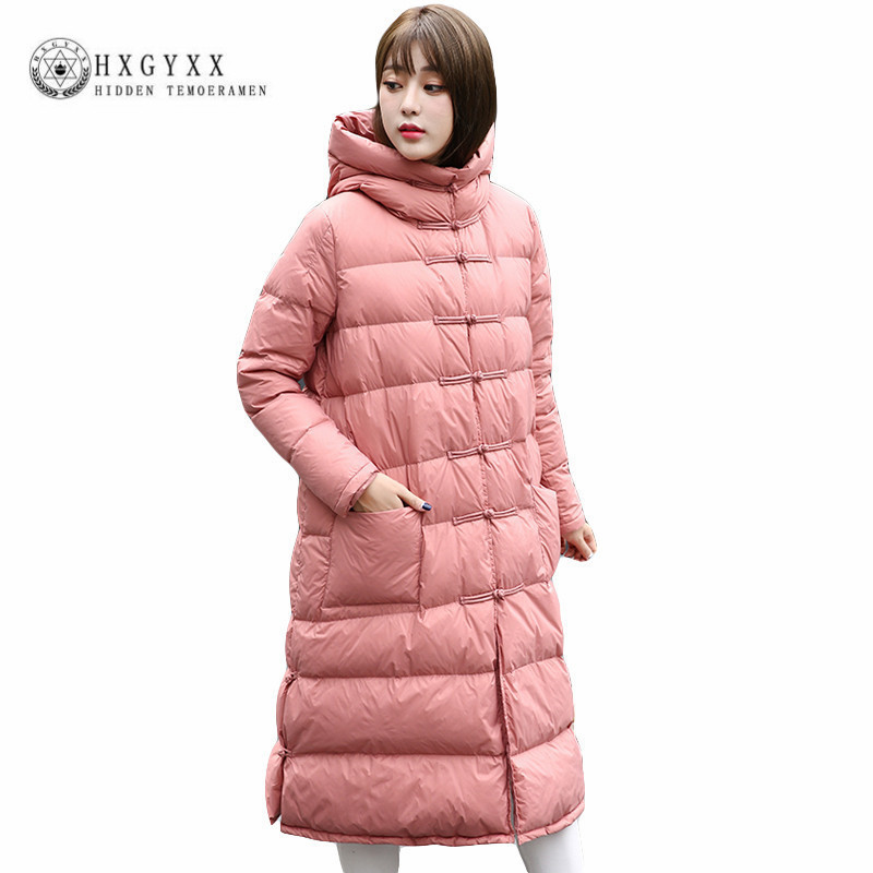 2019 Winter Warm White Duck   Down     Coat   Women Puffer Jacket Plus Size Hooded X-long   Down   Parks Frog Button Padded Outerwear Okb93