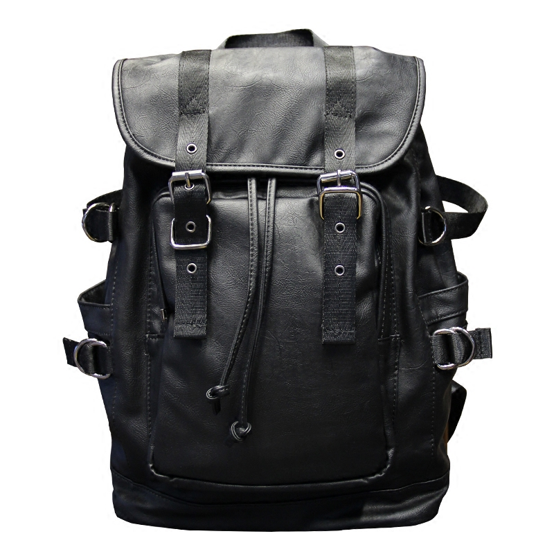 051018 new hot man fashion leather travel backpack student school bag 5