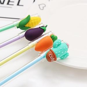 Image 2 - 100PCs Cartoon Creative קטן טרי פירות ג ל עט צמח שחור מים עט צנון חצילים תירס קקטוס עט