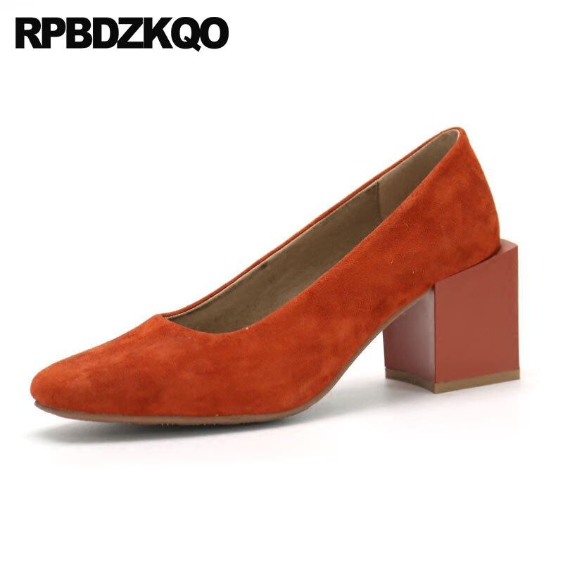 Suede 2018 Block Vintage Top Quality Retro Square Toe Pink High Heels  Elegant 3 Inch Orange 443b16ed4624