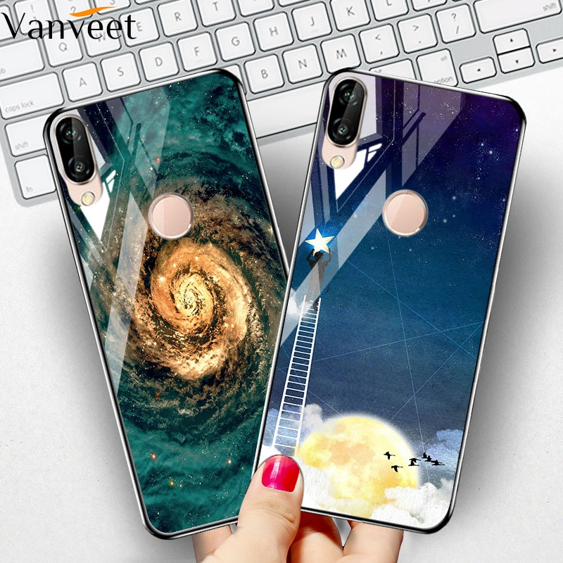 Tempered Glass Case For <font><b>Huawei</b></font> Y9 Prime 2019 Case Coque For <font><b>Huawei</b></font> P Smart Z <font><b>P30</b></font> Pro P20 <font><b>Lite</b></font> Case Painted Cover Back Fundas image