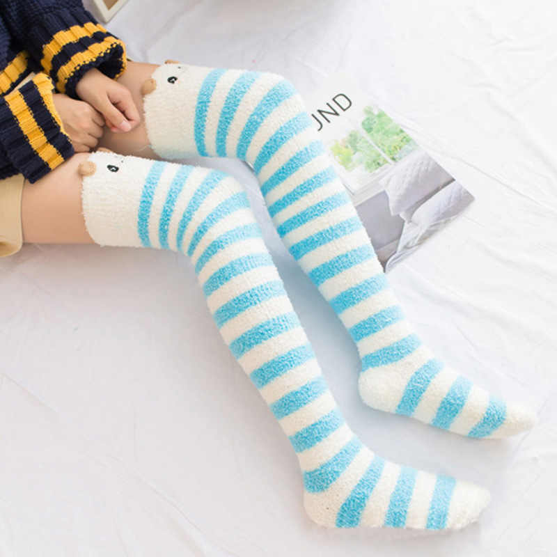 c40e77ac3 ... Women s High Warm Winter Knee Socks Cartoon Animal Coral Fleece Socks  Female Thick Terry Warm Stcocking ...