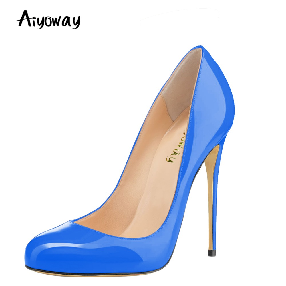 Aiyoway Fashion Women Round Toe High Heel Pumps Slip on Autumn Spring Office Party Shoes Patent Leather Blue&Green&Dark Blue simple daily style handmade womens high heel platform pumps patent leather round toe slip on dating party fashion shoes x1808
