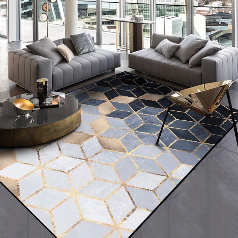 Fashion Modern Metal Golden Carpet Black Geometric Bedroom Door Rug Livingroom Carpet Parlor Tapete Fashion Decorative Mat