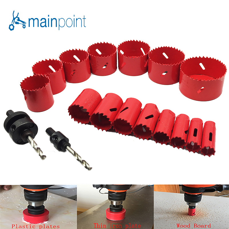 Mainpoint 17PC HSS Bi Metal Hole Saw Kit With The Drill PowerTool Accessorie 19 76mm For