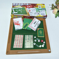 2019New 6 in 1 Mini Acrylic Mahjong Traveling Game Portable Mahjong Cards Dices Set Color Random(Ivory or Ivory White