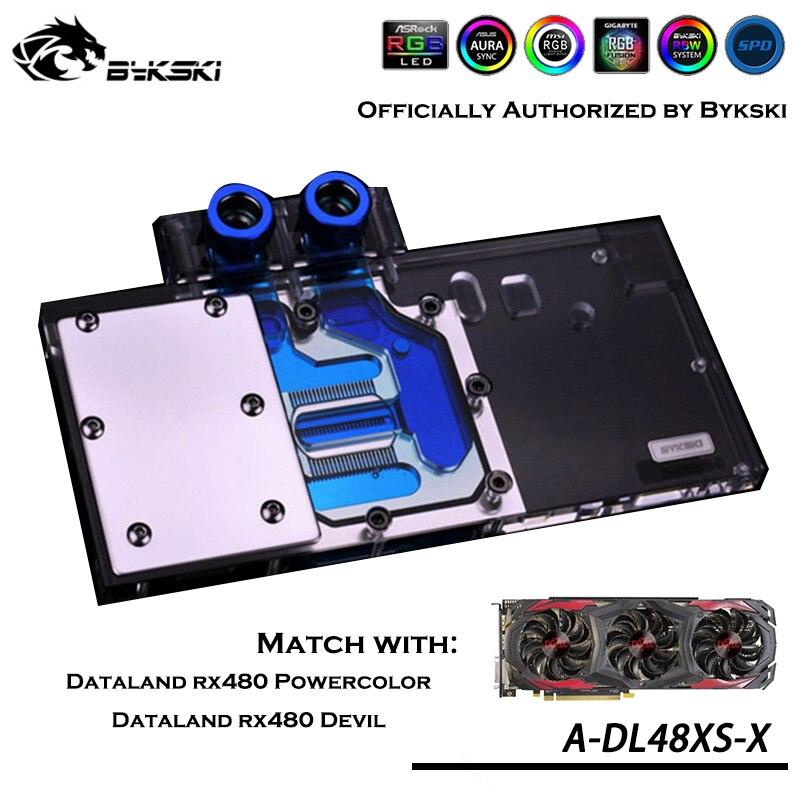 Bykski A-DL48XS-X Cobertura Completa Bloco De Água GPU Para VGA Diabo PowerColor Dataland RX480 RX470 RX580 Refrigerador Placa Gráfica Heatsin
