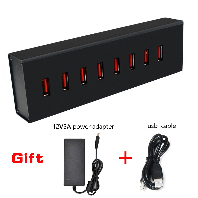 Leadzoe 8 Ports 60W USB 2.0 Data Charging Hub Adapter for Charging Up to 1.5A Per Port  with 12V5A External Power Adapter Black orico usb hub 20 usb ports industrial usb2 0 hub usb splitter with 2 models data transmission ih20p