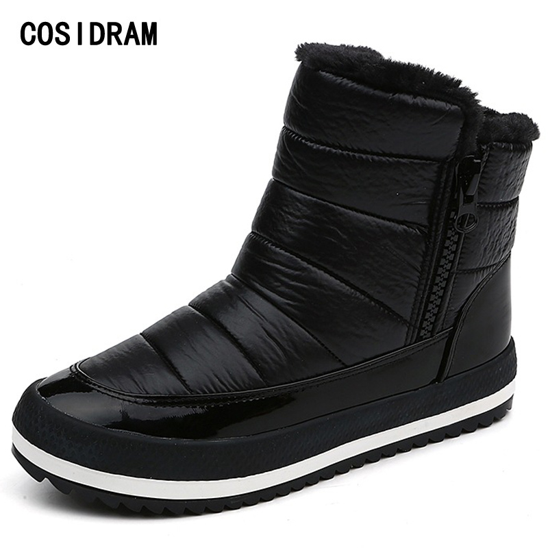 COSIDRAM Plush Warm Winter Shoes Women Snow Boots With Fur Zip PU Leather Women Ankle Boots Ladies Botas 2017 BSN-048 diy handwriting ornaments light box table a4 led luminous battery usb powered desk night light box plaques sign for wedding part