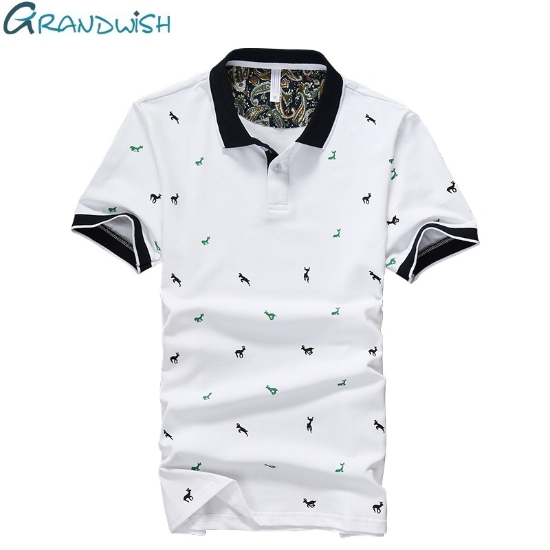 Grandwish Summer Casual Men's   Polo   Anti-pilling Breathable Short Sleeve   Polos   Shirt for Men Print Cotton Clothing 4XL,NA018
