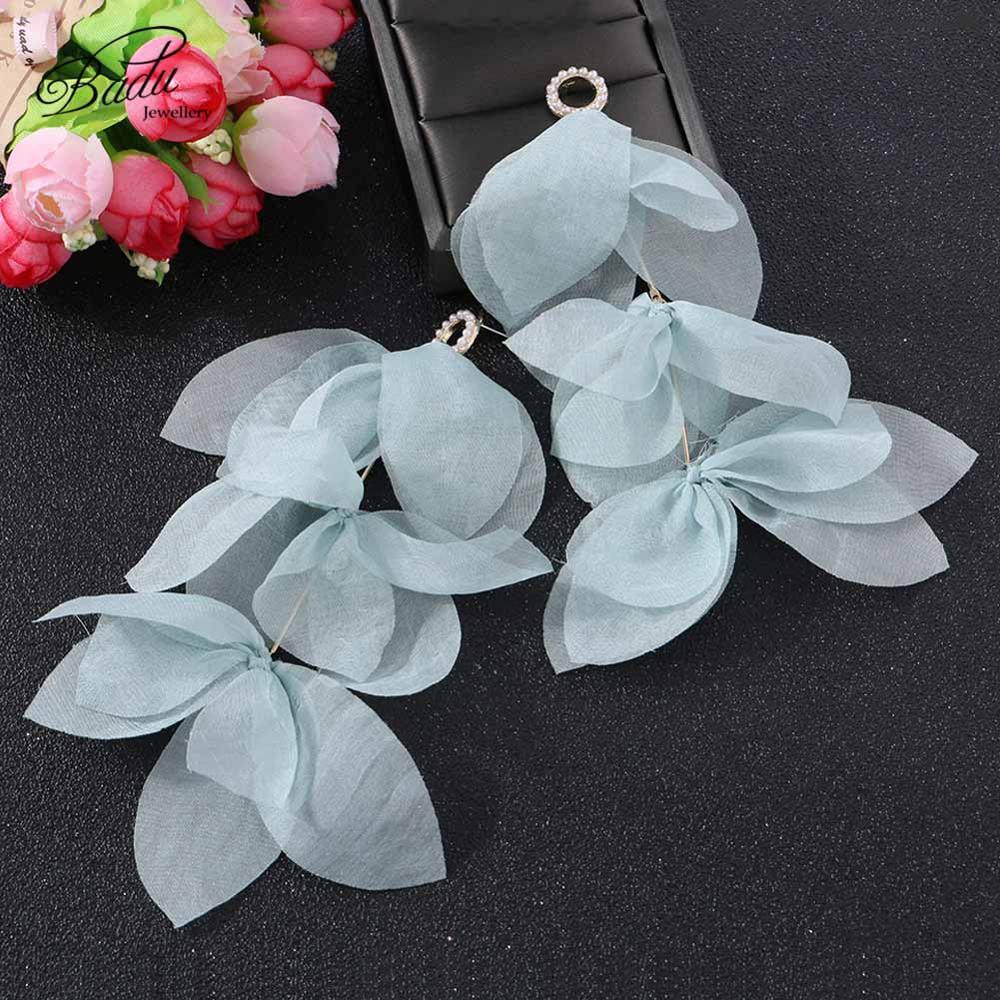 Badu Long Tassel Dangle Earrings for Women Fashion Bohemian Boho Cute Yarn Flower Earrings Summer Wedding Jewelry Gift for Girl in Drop Earrings from Jewelry Accessories