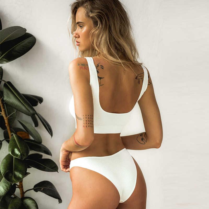 Seluar Denim Berpinggang Tinggi dengan Pakaian Putih Bikini Push Up Baju Renang Wanita Dua Potong Baju Renang Bikini 2019 Mujer Pakaian Renang untuk Wanita