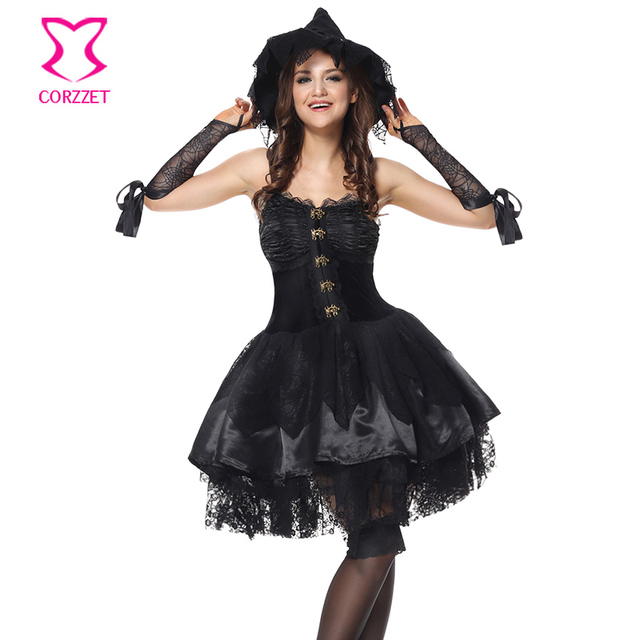 c50d3f66f2c Black Magic Moment Evil Sorceress Role Play Wicked Witch Costume Adult  Victorian Fancy Dress Halloween Sexy