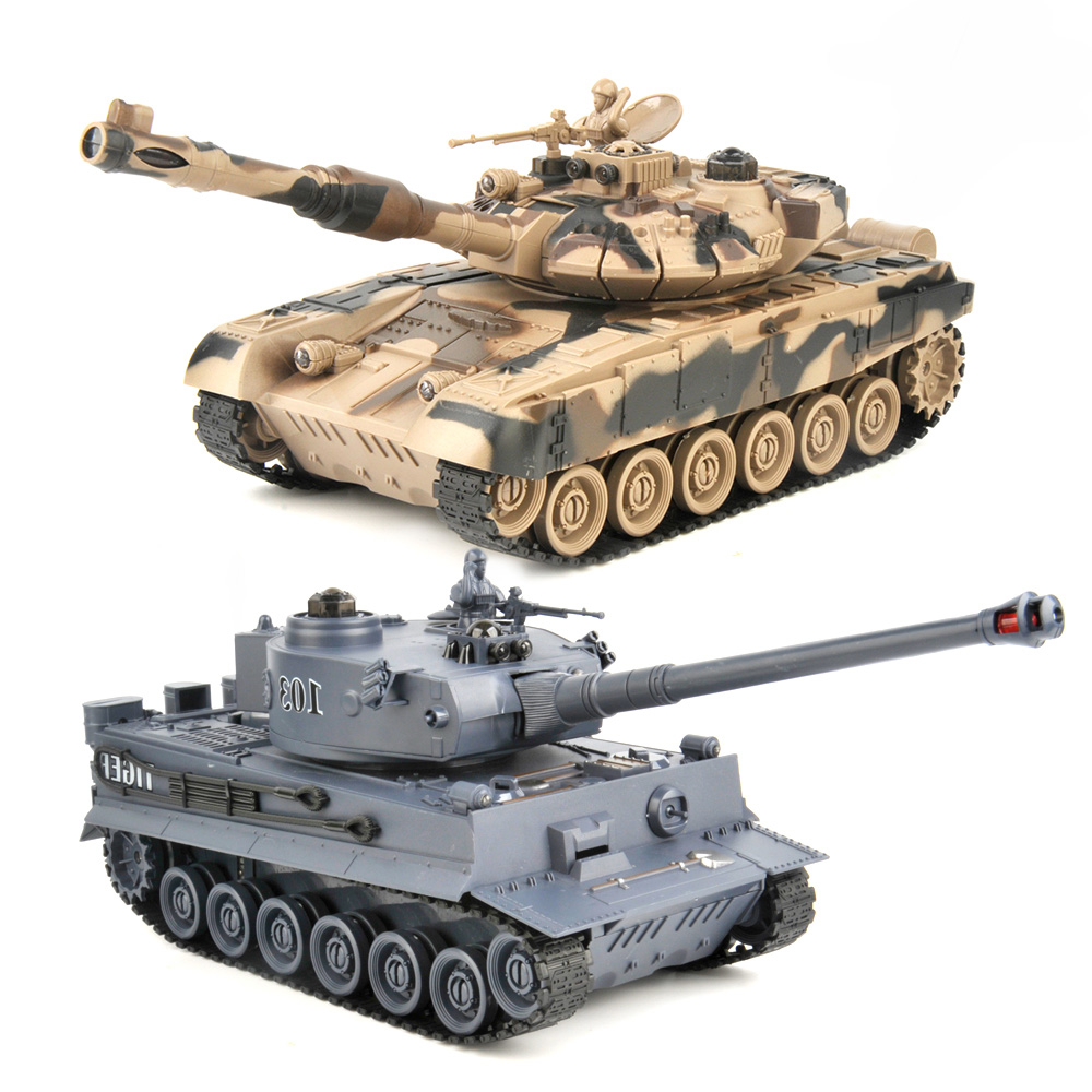 2 pcs/set RC Tank <font><b>27Mhz</b></font> <font><b>40Mhz</b></font> 9CH RTR GE Tiger 103 VS US M1A2 <font><b>Remote</b></font> <font><b>Control</b></font> Fighting Battle Tank with Musical and Flashing Gift image