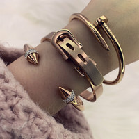 Mavis Hare nail love & Taper rivet & 8mm buckle Style Bangle Set Stainless Steel Cuff Open Bracelet Bangle for women/man