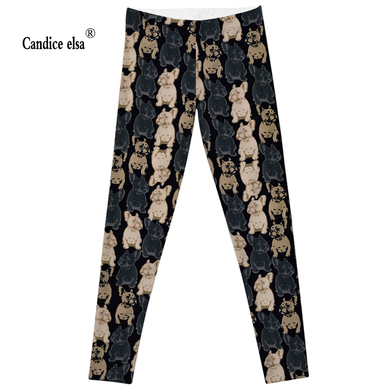CANDICE ELSA Leggings Women Workout Female Pants Elastic Fitness Legging Mangy Dog Printed Trousers Plus Size Drop Shipping
