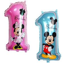 Фотография Happy birthday decoration Minnie Mickey balloon pink Blue baloon Number Helium Foil Balloons Baby 1st Birthday latex balloons