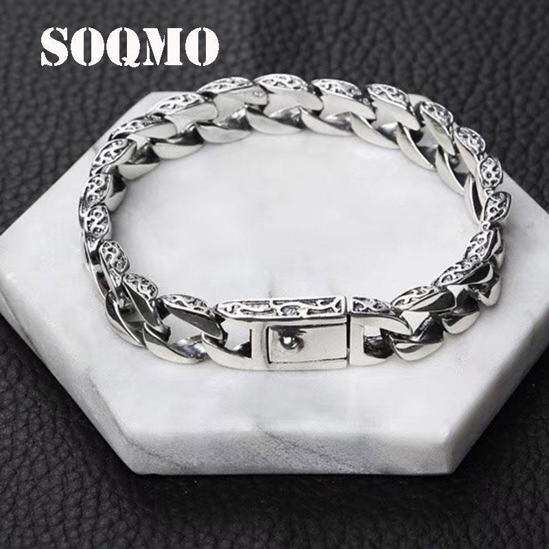 SOQMO Bracelet 100% Réel 925 Sterling Argent Amitié bijoux pour hommes 10mm Large Bracelet vintage Bracelet Femmes Cadeau bijoux fins