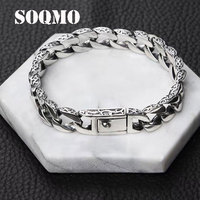 SOQMO Bracelet 100% Real 925 Sterling Silver Friendship Men Jewelry 10mm Wide Vintage Bangle Bracelet Women Gift Fine Jewelry