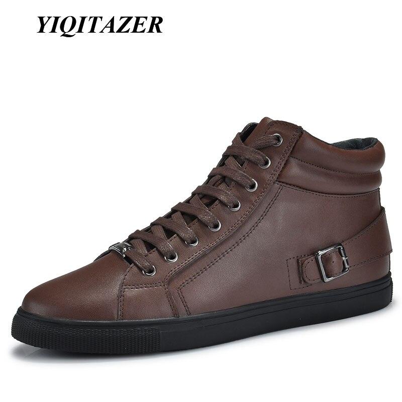 YIQITAZER 2017 Cizme noi de sosire iarnă pantofi bărbați, pantofi din piele autentică pentru bărbați glezne motociclete cizme bărbătești bărbat plus mărime 45 46 47