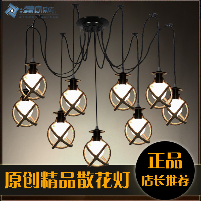 vintage retro antique loft american country industrial spider lamp hemp rope pendant light coffee shop bar kitchen dinning lamp vintage industrial american country black iron hemp rope led e27 pendant light for restaurat coffee bar dia 30 40cm 1656
