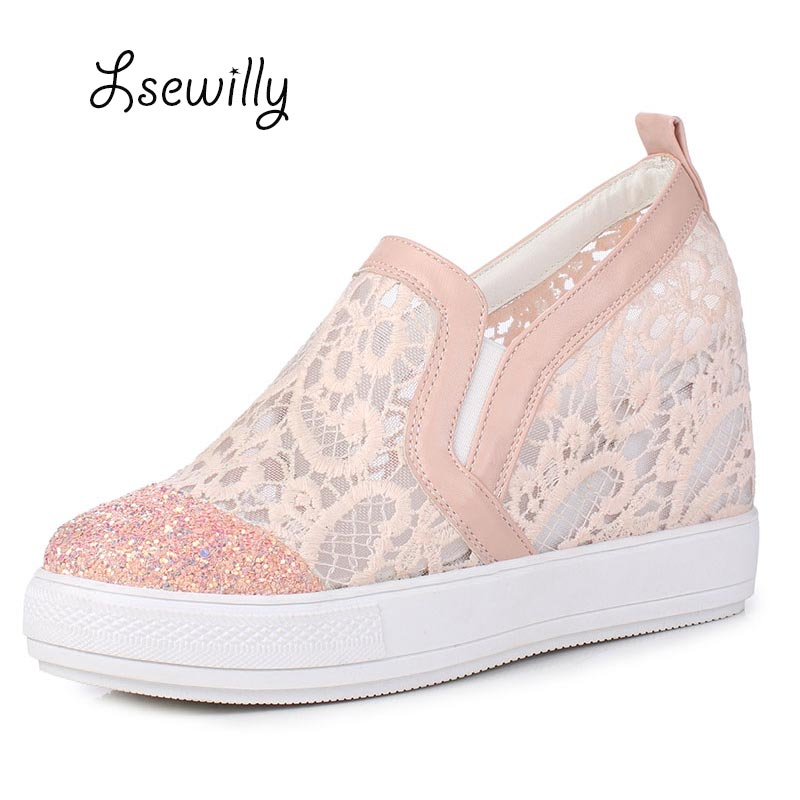 Lsewilly 2017 newest round Toe women pumps Fashion Casual Shoes slip-on Height Increasing Women Wedge Heels Platform Shoes SS842 big size high heels round toe women platform shoes cool casual white lace wedge black creepers medium pumps mesh chinese fashion