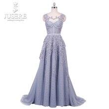 Кружевной Лиф на спине с эффектом иллюзии, трапециевидный длинный сетчатый голубой лиф для девушек с бисером и аппликациями, платье для выпускного вечера, 2018